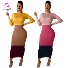Color Block Vintage Women Long Maxi Dress Pencil Stretchy Elegant Sleeve Colorful Badycon Autumn Casual Sheer Outfits