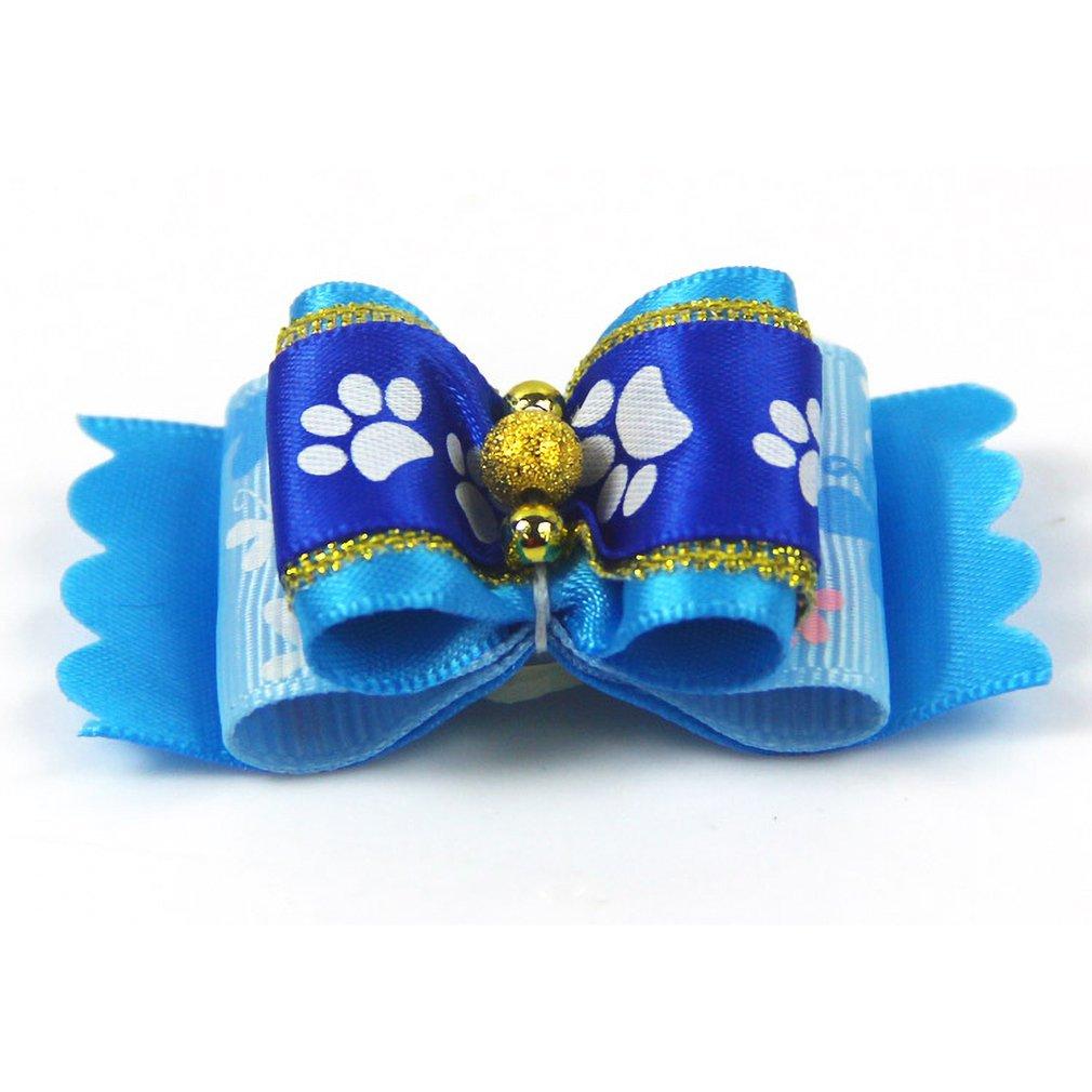 Lovely Footprint Hair Bands Dogs Organza Hair Band Doggy Fashion Bowknot Hair Ring Headdress Grooming Pet Headwear Supplies