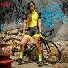 Kafitt pro equipe triathlon conjunto camisa de ciclismo feminino uma peça macacão manga curta macaquinho conjunto feminino gel almofada 20