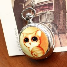 2020Retro Style Women Pocket Watch Cute Cat Ceramic Chinese Nostalgic Necklace Relogio Feminino
