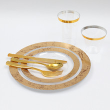 Steak-Plate Plastic Disposable Cutlery Imitation-Porcelain Western Gilded Party Nordic