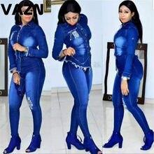 VAZN – ensemble sportif en Denim pour femmes, bleu brillant, manches longues, 2 pièces, boîte de nuit, pour jeunes dames, 2020