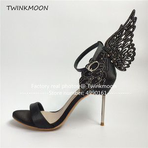 Image 4 - נשים high end ורוד פרפר סנדלי מתכת פגיון העקב מתכתי מגזרות משאבות בלינג בלינג קריסטל סלבריטאים חתונה נעליים
