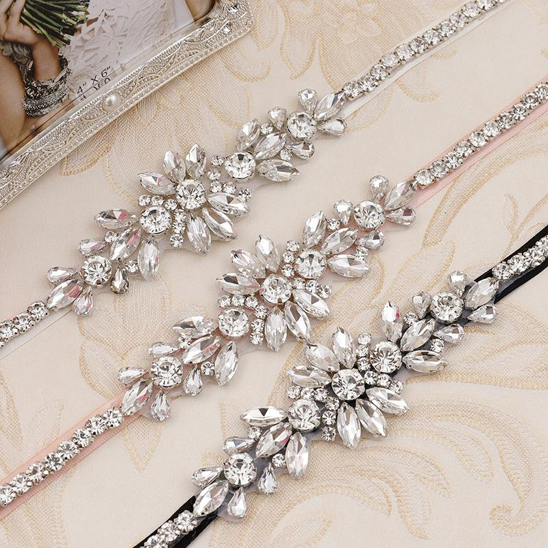 Crystal Rhinestones Wedding Belt Silver Bridal Belts Sash White Ivory Champagne Ribbon For Evening Dress Bride Jewelry
