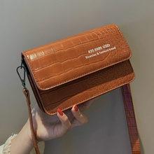 Fashion Crocodile Pattern Shoulder Bags Women Messenger Alligator Small Flap Bag Chic Letters Print Crossbody