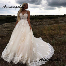 Wedding-Dresses Train Sweetheart Appliques Sleeveless A-Line Illusion Chaple The-Newest