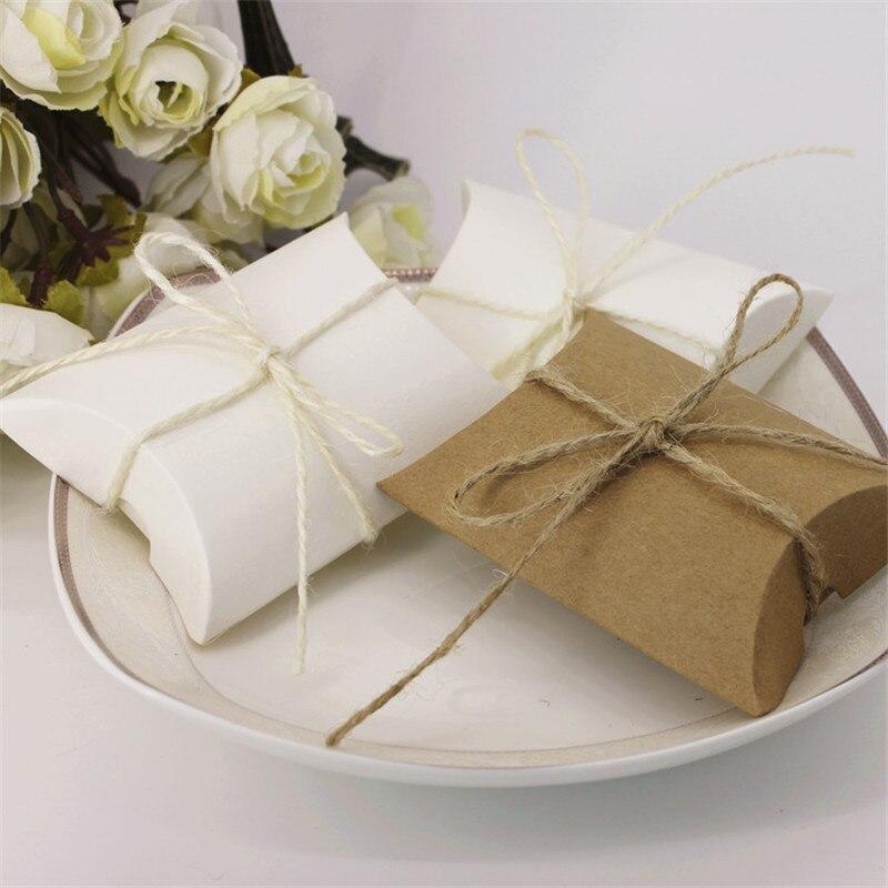 Mariage Kraft papier oreiller boîte à bonbons mariage bébé douche faveurs cadeau bonbons boîtes maison fête anniversaire approvisionnement