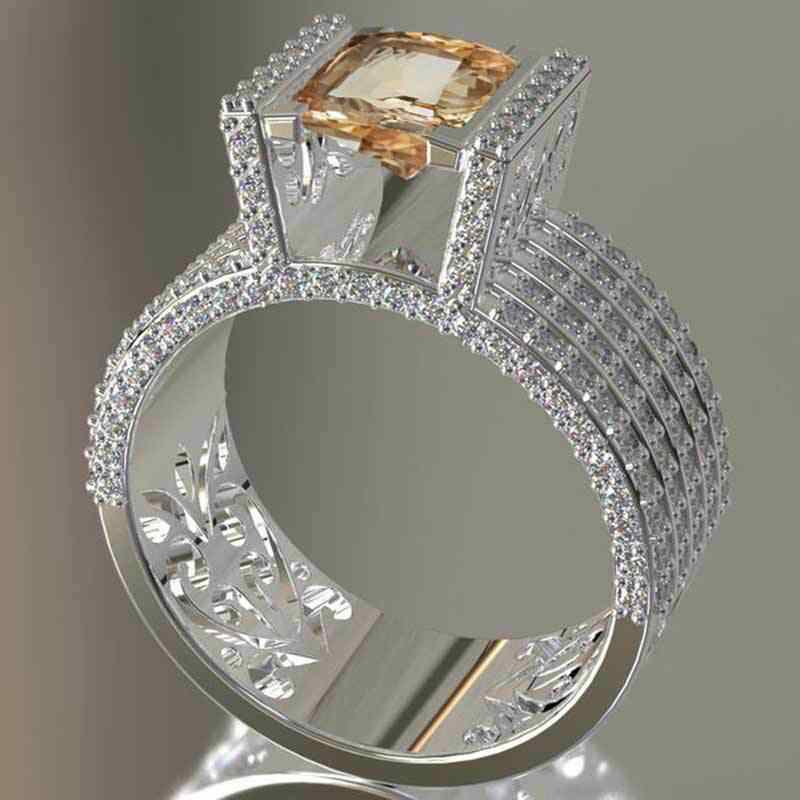 Luxe Micro Pave White Rhinestone Iced Out Bling Grote Vierkante Champagne Kleuren Crystal Ring Gevuld Ringen Voor Vrouwen Sieraden Cadeaus