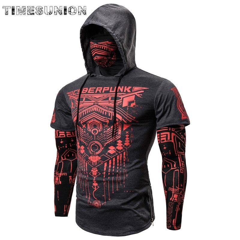 Mens Skull Hoodies Sweatshirt Fake Two Pieces Men Punk Jogging Homme Pullover Elastic Streetwear Hoodie Japan Ninja Suit