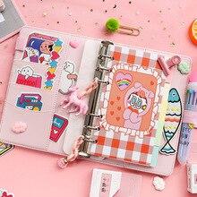 Kore Pembe El Kitabı Karikatür A6 Günlüğü Dizüstü Kız Arkadaşı Hediye El Hesabı A6 Sevimli not defteri Kawai Kız Öğrenciler için El kitap