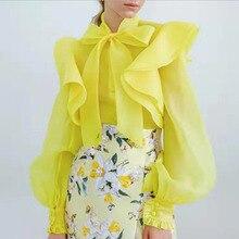 Transparent Top Sheer Blouse Shirt White Black Yellow Long S
