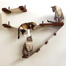 Wall-mounted cat hammock scratching post Wood tree house pet furniture play supplies