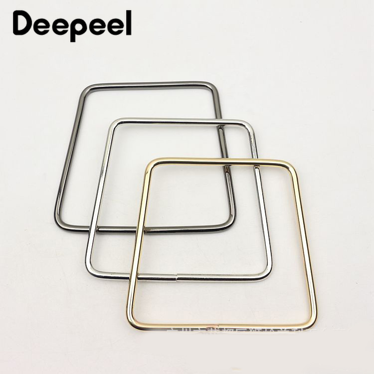 2Pcs Square Metal Rings Handbag Handles Clutch Clasp DIY Replacement Bag Strap Metal Buckles Accessories Parts Leather Crafts