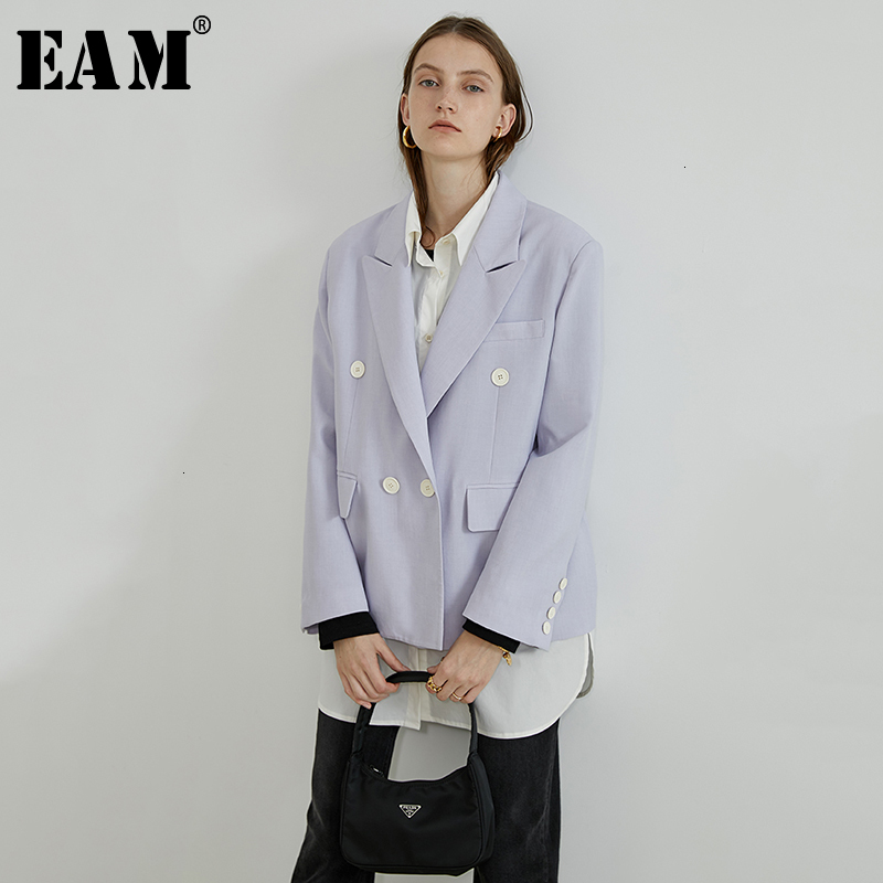 [EAM]  Women Purple Double Breasted Big Size Blazer New Lapel Long Sleeve Loose Fit  Jacket Fashion Spring Autumn 2019 1D232