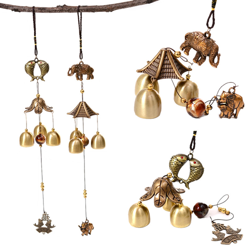Antique Wind Chime Copper Yard Garden Indoor Outdoor Kids Room Decor Metal Wind Chimes Chinese Oriental Lucky Home Decor