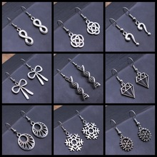 Geometric Shaped DNA Snowflake Bow Knot Infinity Dangle Earrings Vintage Antique Silver Color Earrings For Women Girl Gift