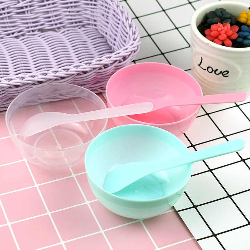 1 Set DIY Bowl Set Mud Tool Mixing Bowl With Spoon Crystal Mud Kids Toy Colorful Slime Container Box DIY Plasticine Slime Set