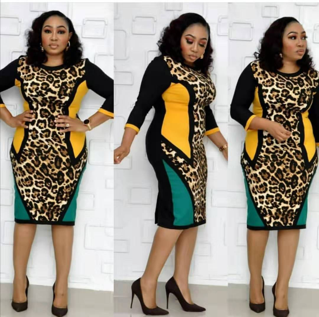 2019 Autumn Sexy Fashion Style African Women Printing Plus Size Knee-length Dress L-4XL
