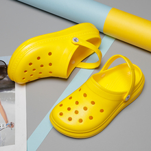 Summer Casual Sandals Men High Platform 2020 New Beach Slippers Breathable Hole Flats Crocse Male Cl