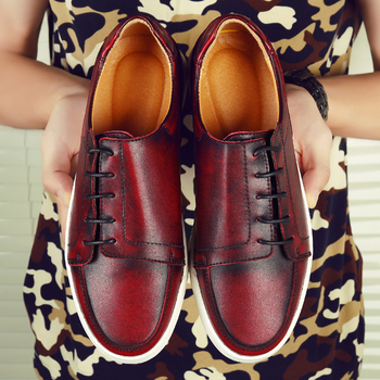 Chaussures Casual Rouges   Automne Chaussures Décontractées Hommes 2019 Vintage En Cuir Baskets Homme Mode Rouge Gris Moine Sangle Chaussures Chaussures Plates Concepteur Hommes Chaussures De Marche