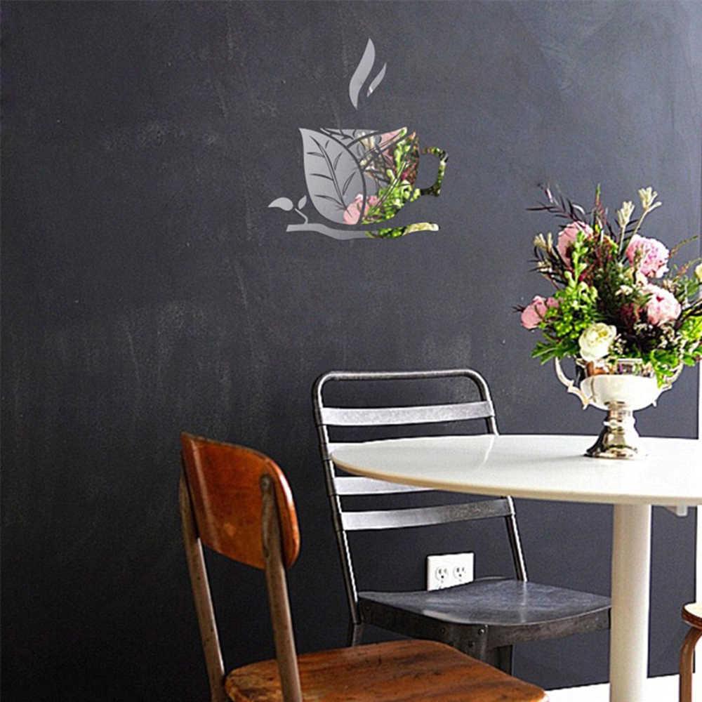 אקריליק טפט מראה קיר מדבקות Creative עלה כוס קפה מסעדה נשלף טלוויזיה רקע עיצוב הבית