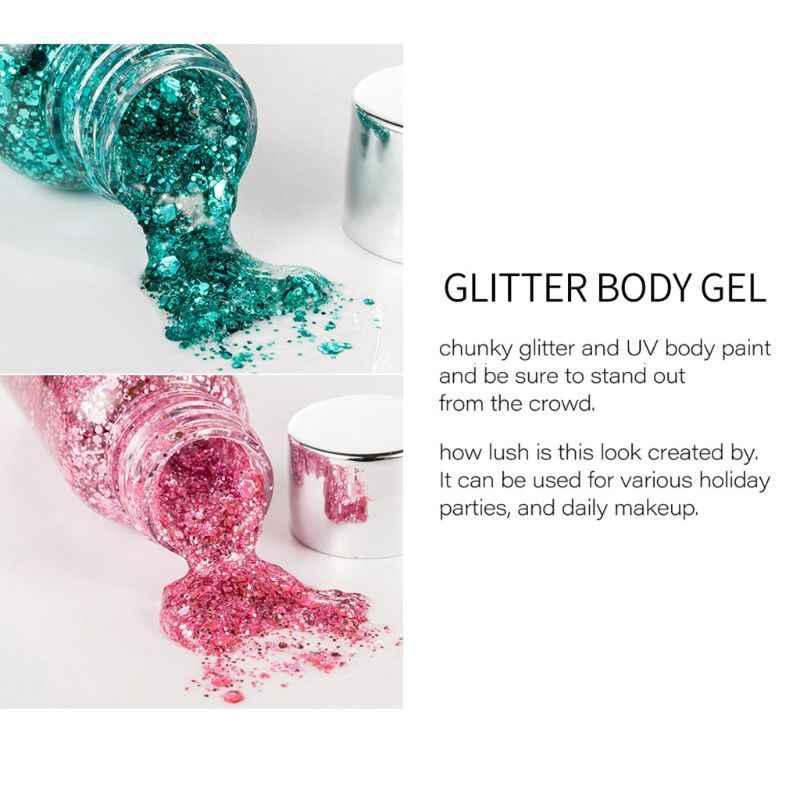 35G Holographic Kerlap-kerlip Body Gel Kosmetik Shimmer Serpihan Payet Campuran Paillette Wajah Makeup Rambut Bibir Dekorasi Pesta Festival