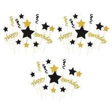 3 комплекта Топпер для торта Премиум Бумага блестящая Звезда декоративные вечерние принадлежности вставка для фруктов кексы для дня рождения банкета