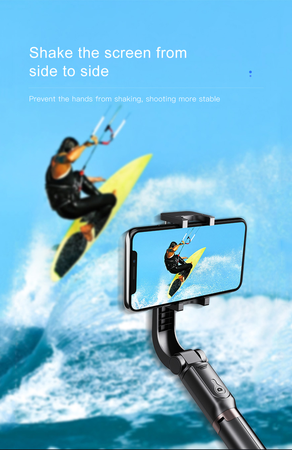 Bonola 3 in1 Handheld Gimbal Stabilizer Smartphone Selfie Stick Tripod For iOSAndroid Video Stabilizer For iPhone11ProSamsung (3)