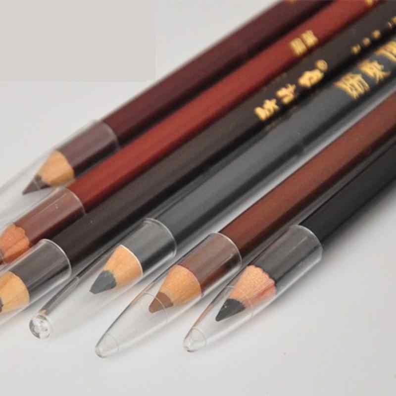 Lápis de sobrancelha de longa duração, 6 cores, cabeça dupla, à prova d' água, potenciador de tintura, moda, fácil de colorir ferramentas de maquiagem