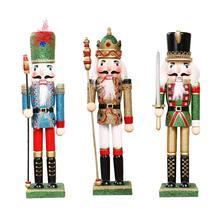 Prezent dekoracja bożonarodzeniowa 30CM drewniany malowany dziadek do orzechów lalek ludzie pulpit okna świąteczne prezent dziadek do orzechów Puppet Desktop Win tanie tanio Drewna Maskotka Europa