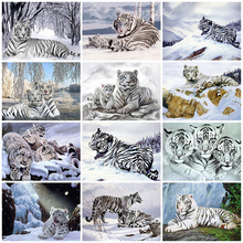 Huacan 5D Diamond Painting New Tiger Pictures Of Rhinestones Diamond Embroidery Sale Snow Decor For Home