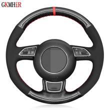 Housse de volant de voiture en daim noir, en Fiber de carbone, pour Audi A1 8X A3 8V Sportback A4 B8 Avant A5 8T A6 C7 A7 G8 A8 D4