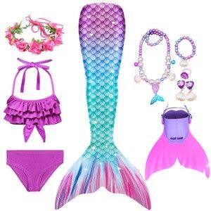Image 3 - Meisjes Zeemeermin Staarten Kids Badpak Kostuums Met Monofins Bikini Zwemmen Cosplay Voor Kinderen Badmode