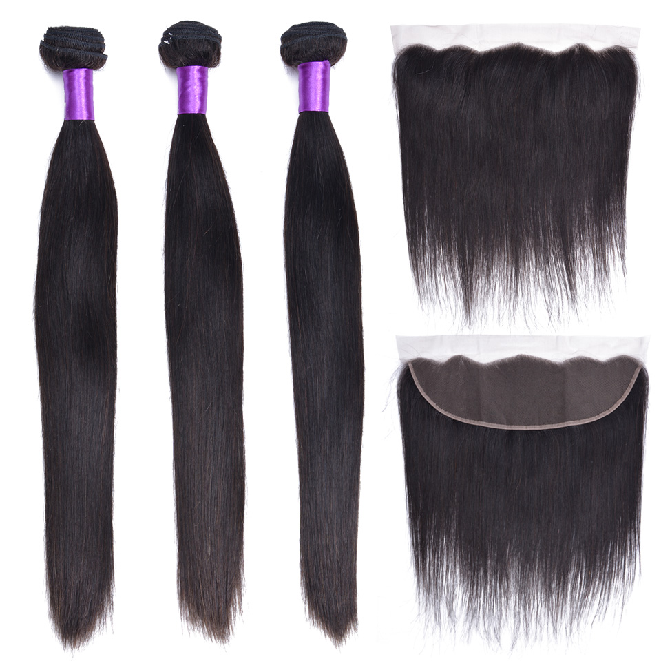 Malaysian Straight Hair Bundles With Closure Non-Remy Human Hair 3 Bundles With Closure Frontal Hair Extension