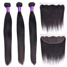 Malaysian Straight Hair Bundles With Closure Non-Remy Human Hair 3 Bundles With Closure Frontal Hair Extension(China)