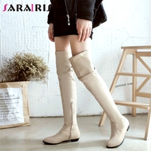 SARAIRIS 34-48 Casual Ladies Flat Over The Knee Knight Boots Women 2019 Winter Elegant Thigh High Boots Warm Fur Shoes Woman