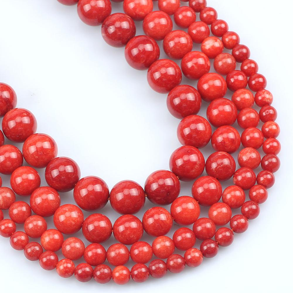 Natural Stone <font><b>Coral</b></font> <font><b>Red</b></font> Jades Beads For Jewelry Making Round Loose Spacer Accessories Beads DIY Earring Bracelet 6/8/10/12mm 15