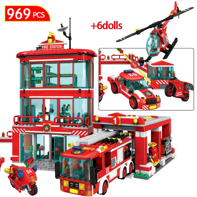 969pcs City Police Firefighter Figures Bricks  Fire Station Fire Truck Car Helicopter Building Blocks Toys for Children