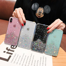 WALITIAN Luxury Bling Sequins Star Glitter Phone Case Cover Case Transparent Soft TPU Fitted Case Apple Mobile phone