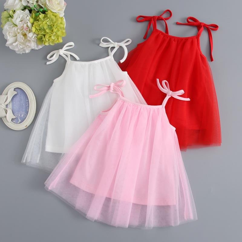 Dress Birthday Princess Baby-Girls Summer Clothing Infat Pink White Sleeveless 1-Year title=