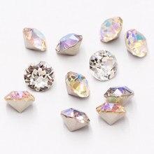 Crystal Rivoli – pierres rondes à coller sur les ongles, accessoires de bricolage, Strass en verre de petite taille 4mm, 50 pièces