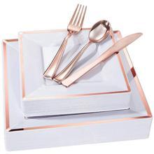 Прочная квадратная одноразовая пластиковая пластина 6 шт х 3 шт х вечерние однополосные печатные столовые приборы для дома