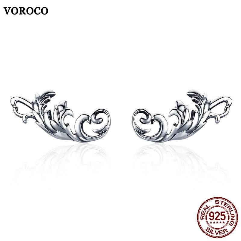 VOROCO Stud-Earrings 925-Jewelry 925-Sterling-Silver Women Geometric Wedding for 100%Real