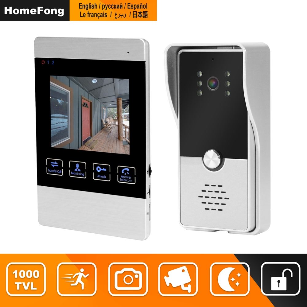 HomeFong Video Door Intercom 4 Inch Video Intercom For Home System Kit Indoor Monitor Outdoor Video Doorbell Camera Support CCTV