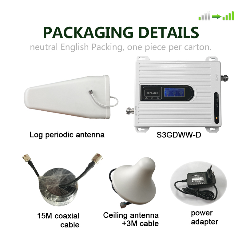 GSM 2G 3G 4G Cell Phone Booster Tri Band Mobile Signal Amplifier LTE Cellular Repeater GSM DCS WCDMA 900 1800 2100 Set