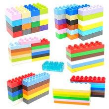 Grandes blocos de construção colorido retângulo a granel 8 12 16 pontos tijolos montar acessórios compatíveis tijolos baseplates crianças brinquedos