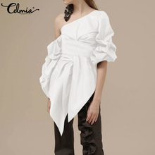 2020 Summer Fashion Office Blouses Celmia Sexy One Shoulder Tunic Tops Women Lantern Sleeve Casual Shirts Belted Elegant Blusas