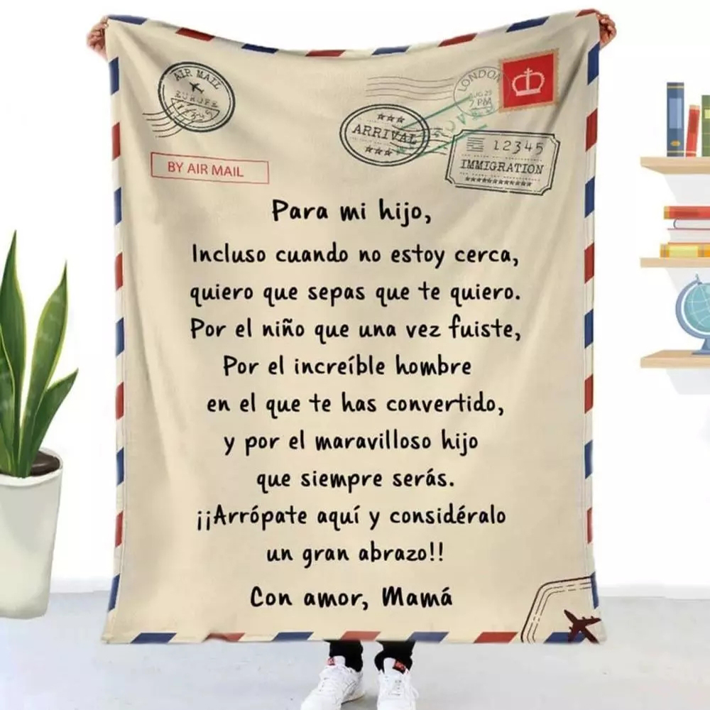 Flannel Blanket Air Mail 3D Printing Sofa Keeping Warm Children Blanket Home Textile Spanish and French Letter Printing Quilt-0