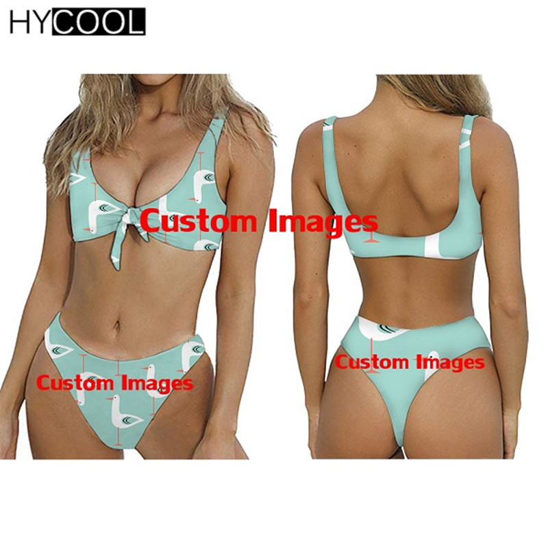 HYCOOL Custom Your Own Logo/Image/Photo Print Sexy Woman Bow-knot Bikini Set Two Piece Swimsuit Summer Beach Bathing Suit