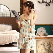 Summer Women Pajamas Set Cotton Pijama Home Suit Sleepwear Camisole Shorts Pyjamas Women Loose Homewear Nighwear With chest pad(China)
